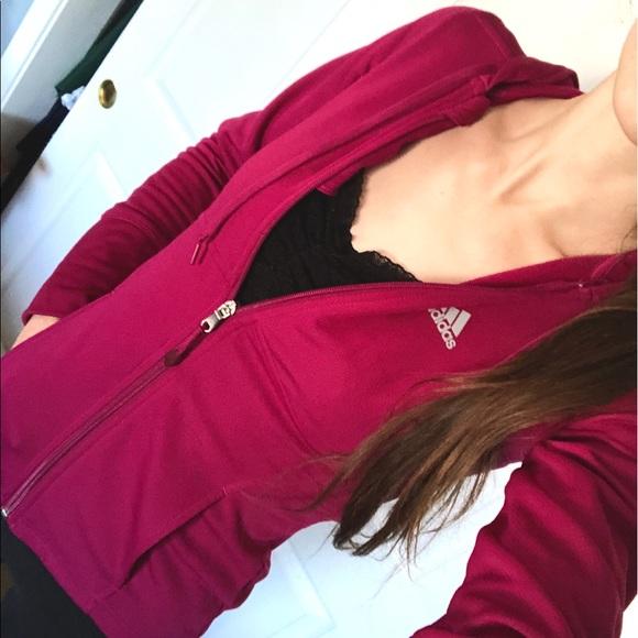 adidas Jackets & Blazers - Adidas fuchsia pink full-zip athletic hoodie